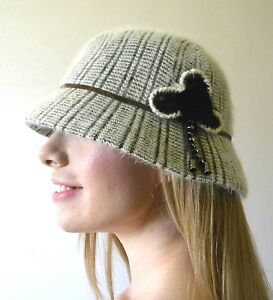 aa594117ebf6e Cloche Hat New Ladies 20's Vintage Angora Warm Winter Flower Black ...