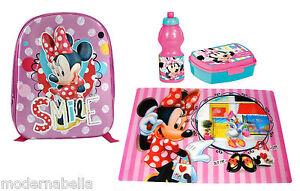 Minnie-Mouse-Topolina-zaino-zainetto-3D-asilo-scuola-set-merenda