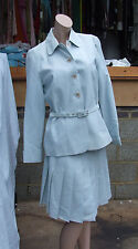 UK 12 Fabulous 2pc Pale Blue Check Box Pleat Skirt & Button Down Jacket Suit Set