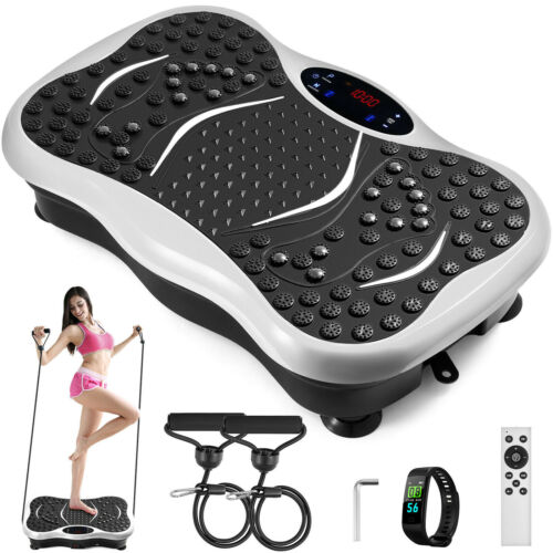 Vibration-Platform-Whole-Body-Massager-Machine-Exercise-Fitness-White-w-Remote