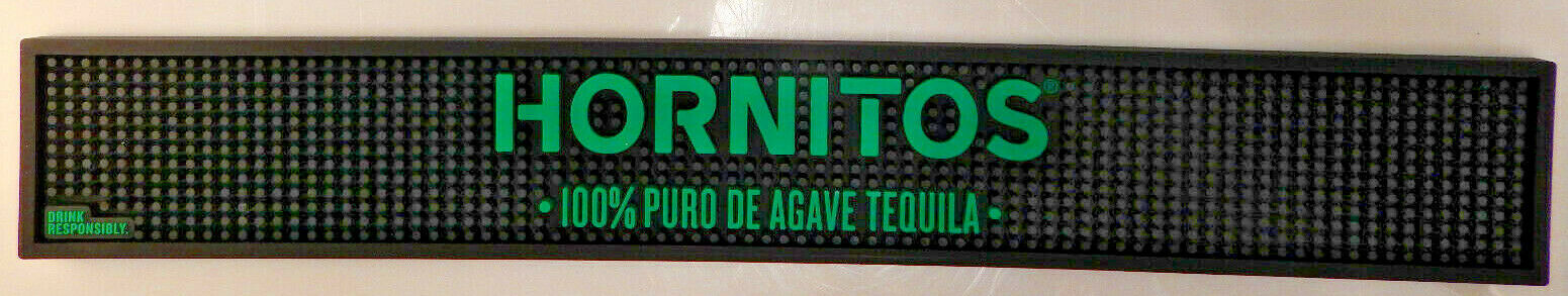 Hornitos Tequila Rubber Black and Neon Green Bar Mat Brand New Unused FREE SHIP