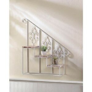 Image Is Loading White Iron Metal Shabby Wood Stair Wall Hanging