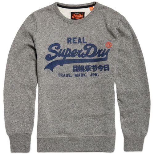 Superdry Vintage Logo Panel Stripe Sweatshirt Grey Blue Superdry Sweatshirt