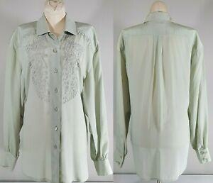 VTG-Escada-Top-BLOUSE-Long-Sleeve-Italy-Margaretha-Ley-Embroidered-Silk-Sz-38