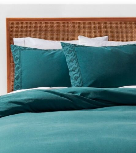 Opalhouse Washed Tribal Aztec Border Teal Duvet Cover Set 2 pc   TWIN//TWIN XL