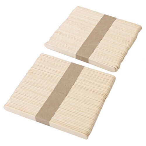 50 Stück Holz Bastelhölzer Holzspatel Eisstiel Holzstiele Modellbau Schön G F0X2