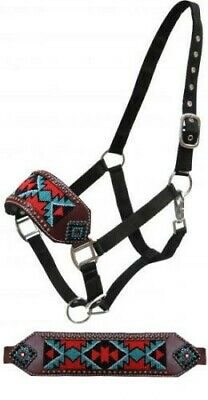 Bronc Horse Halter has PINK METALLIC Inlay Noseband Crystal Rhinestones NEW TACK