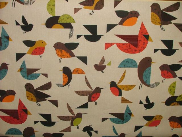 3m Scandinavian Happy Bird Digital Printed Designer Curtain Upholstery Fabric