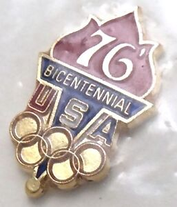 Vintage-1976-Montreal-Canada-USA-Olympic-Bicentennial-In-Package-Pin-G026