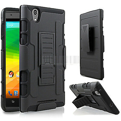 Rugged Hybrid Armor Case Hard Cover Impact Clip Holster Stand For ZTE Zmax Z970