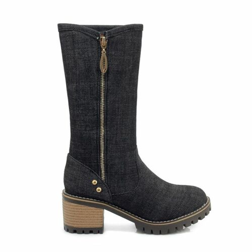 Women/'s Boots Mid-Calf Winter Snow Warm High Heels Shoes Jeans Western Booties