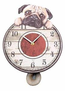 26cm-Puggin-039-Tickin-039-Dog-MDF-Pendulum-Clock