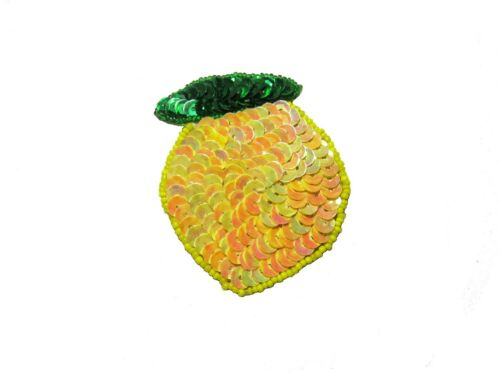 Unotrim Yellow Lemon Orange Fruit Seed Beaded Sequins Motif Applique Patch
