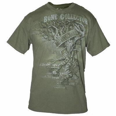 Bone Collector Tree Skull Short Sleeve Tee Shirt (Green)