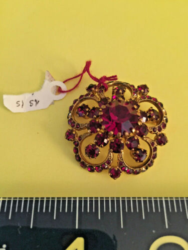 Antique/Vintage Faux Red glass stone gilded metal