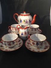 Vintage Chinese Egg Shell Tea Set Teapot Cups And Saucers Milk Jug