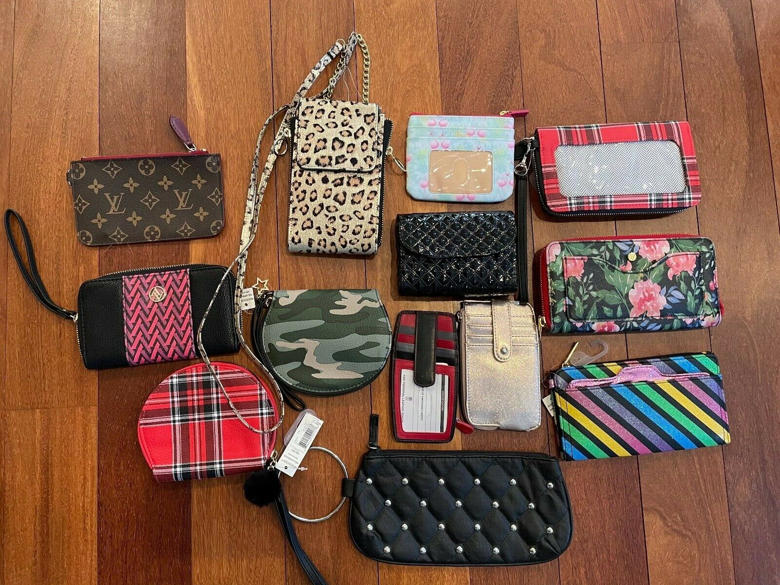 (13) Lot Wristlet Crossbody Phone Case Makeup Wallet Card Case Travel Bag Black