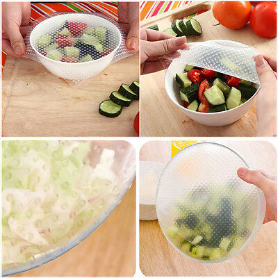 4pcs Silicone Wraps Seal Cover Stretch Cling Film Food Fresh Keep Kitchen DIY