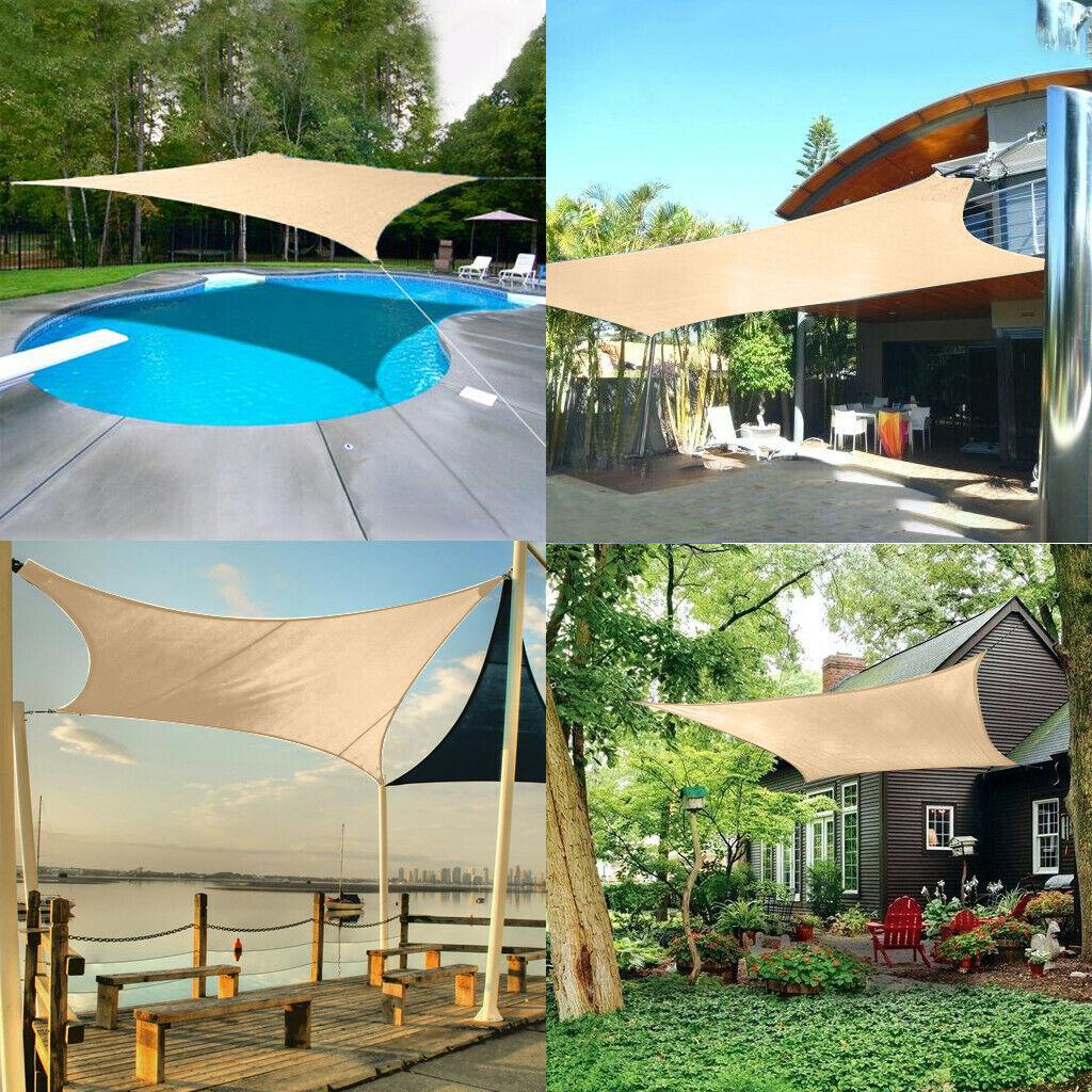 Outdoor Cover Awning Shelter For Pergola Backyard Garden Yard Euchirus Sun Shade Sail Canopy 6 X 8 Rectangle Shade Cloth Uv Block Sunshade Fabric Sand Color Umbrellas Shade Shade Sails