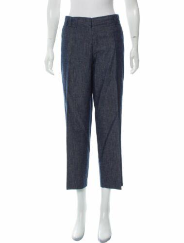 Etro Mid rise Straight Wide-Leg Chambray Pants Siz