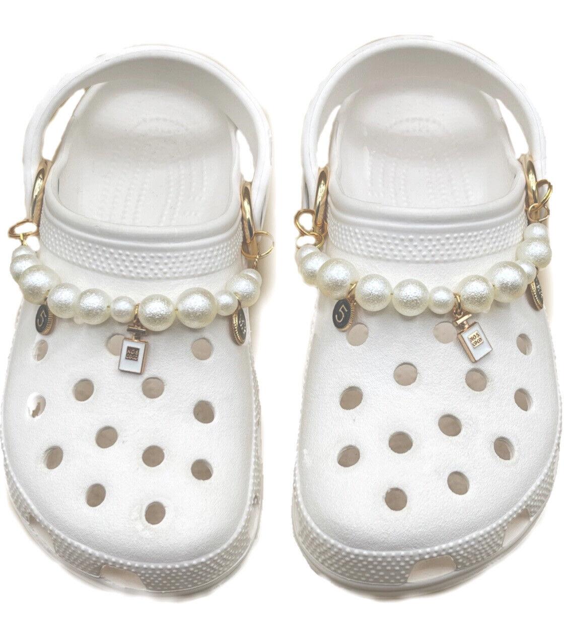 White Pearl Designer Crocs Chain Charms Or Similar Shoe. Shoe Chain Charm