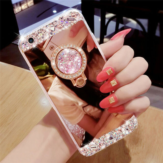 Luxury Bling Diamond Crystal Ring Holder Stand Mirror Soft Case iPhone Cover