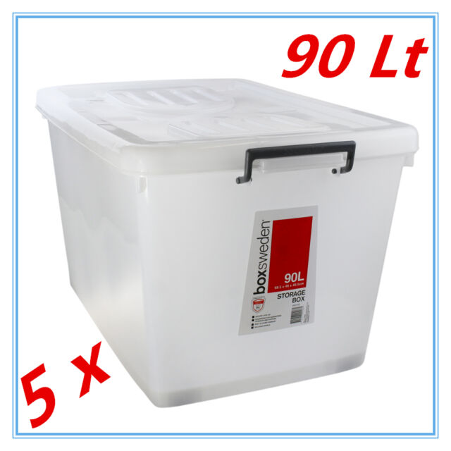 5 x 90Lt STORAGE TUB BOX CONTAINERS HEAVY DUTY ROLLER WHEEL LIDS CARRY HANDLES