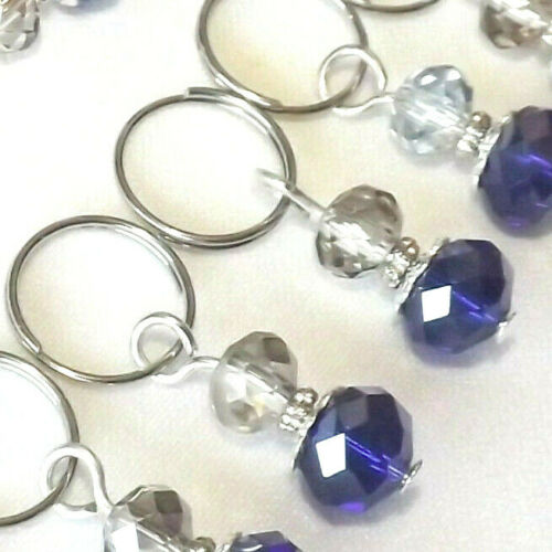 KNITTING STITCH MARKERS WITH PROGRESS KEEPER  #189b BEADED HANDMADE