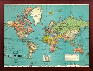 Bacons old map of the world map parchment paper in walnut wood frame image is loading bacons old map of the world map parchment gumiabroncs Image collections