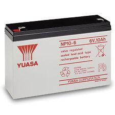 YUASA NP10-6 6V 10AH (as 12Ah) Emergency Lighting Battery With 4.8MM FAST-ON