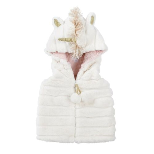 Mud Pie H9 Baby Girl Cream Unicorn Fur Hooded Vest 11080004 Choose