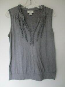 Ann-Taylor-Loft-Women-039-s-Size-Small-100-Cotton-Sleeveless-Black-Striped-Blouse