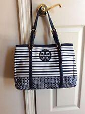 Tory Burch Navy/White Stripe Nylon/Leather Satchel Handbag