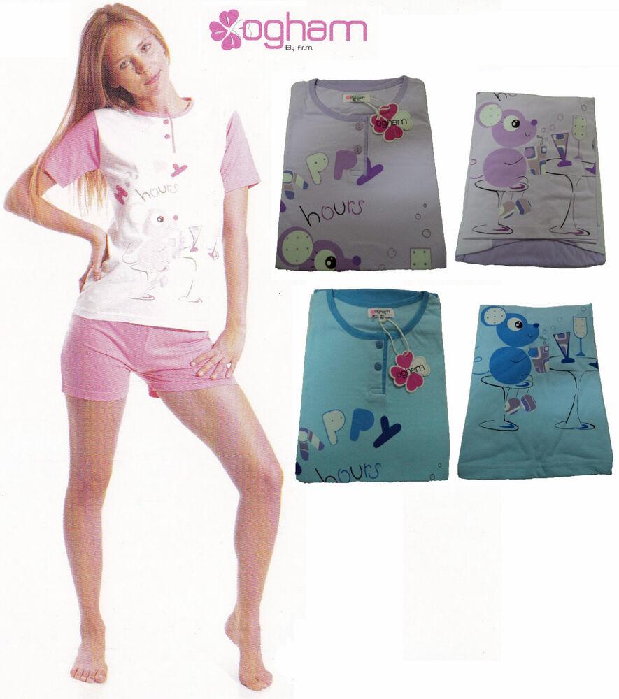 Analytique Pyjama Femme Ogham. Manches Courtes - Pantalon Corto. Cotone. 3 Boutons - 24910 ModèLes à La Mode