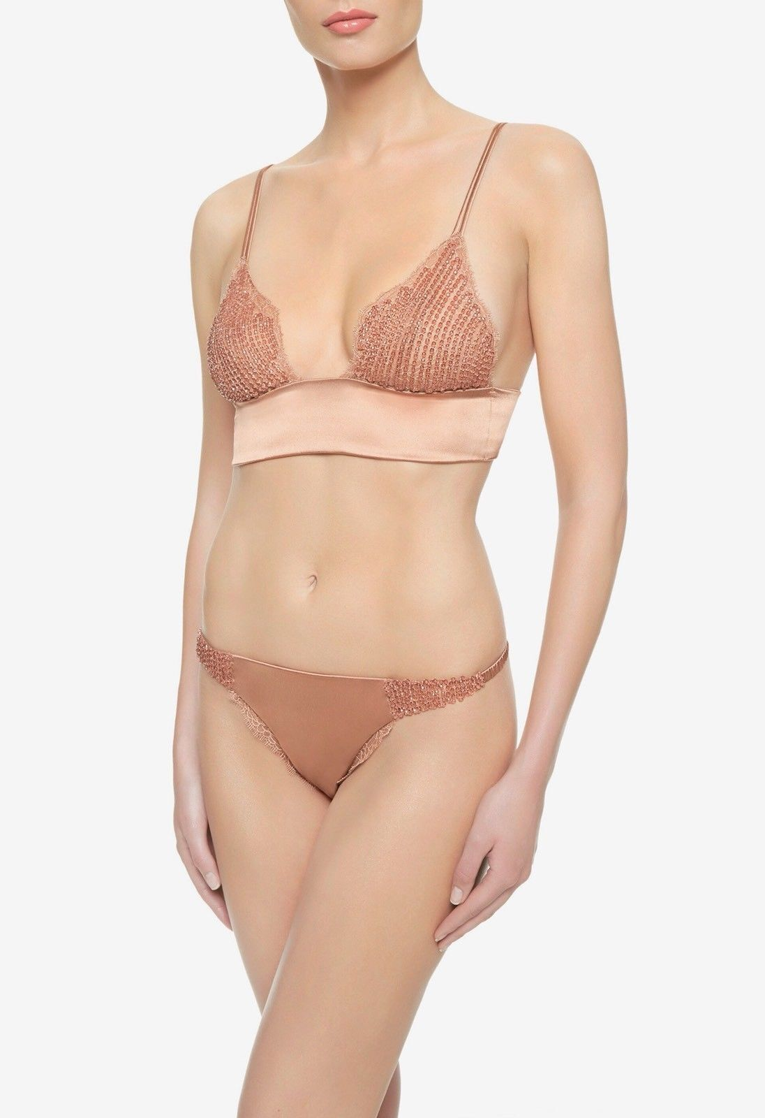 La Perla Glimmering Soutache Beaded Silk Triangle Bra & Thong Set - Size IT 4