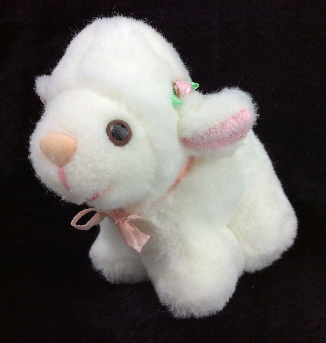 VTG Lamb Sheep White Flower Pink Ears Musical Plush Stuffed Animal 7