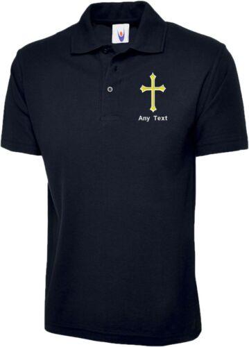 Free Brodé persnoalised Jésus-Christ Croix chrétienne religieuses Polo Shirt
