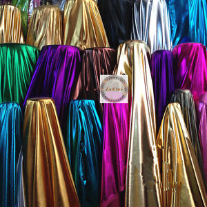 Image Is Loading Gloss Shine Metallic Foil Lycra Fabric Crafts Stage