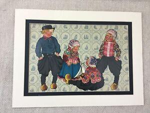 1932-Originale-Art-Deco-Stampa-Olandese-Bambini-Ragazzo-Vestito-Tradizionale