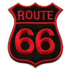 "ROUTE 66 IRON ON PATCH 2.25"" Punk Rocker Biker Rockabilly Embroidered Applique"