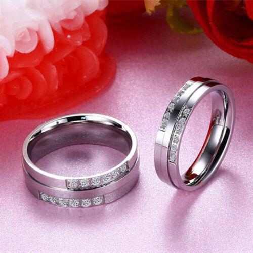 La Saint-Valentin Couple Anneaux en Acier Inoxydable Fiançailles Argent cubique zircone Band Taille 6-11