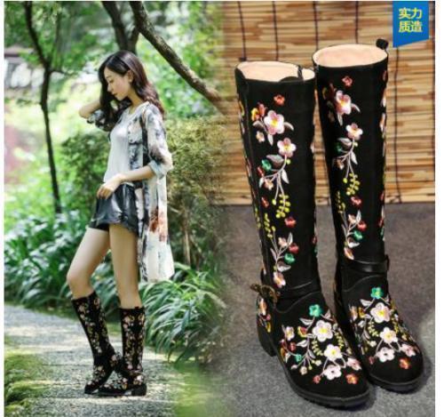 Patrón de ante para mujer Embroiderojo Casual Cremallera étnico de la rodilla botas altas Zapatos