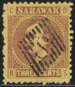 SARAWAK-1871-RAJAH-CHARLES-BROOKE-3c-FINE-USED-WITH-S-IN-DIAMOND-CANC-CAT-RM-16