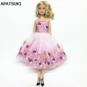 Doll Clothes-Purple Floral Strapless Dress