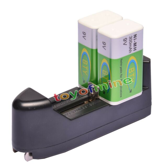 2 BTY 9v 9 Volt Rechargeable Battery 300mAh + Charger Ship from USA