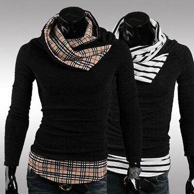 Men Fashion Slim Fit Grid Stripe High Collar Turtleneck Pullover Sweaters