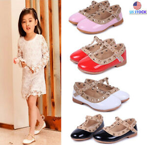 Cute Baby Girl Toddler Kids Sandals Rivet Buckle T-strap Flat Shoes Princess New