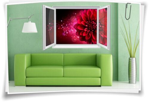 3d pared de ventana imagen murales pegatinas dalia flor rojo salón decorativas