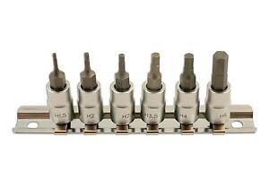 Laser-Tools-5682-1-4-Drive-Hex-Allen-Key-Socket-Bits-1-5mm-6mm-On-Socket-Rail