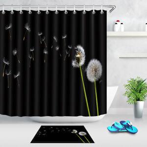 "60x72/"" Christmas Snow Santa Castle Polyester Waterproof Shower Curtain Hooks Set"